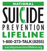 Suicide Prevention Lifeline: 1-800-273-8255