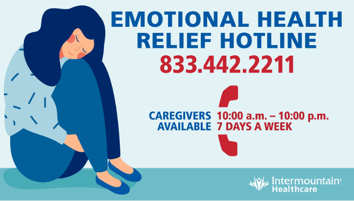 Illustrated women curled up. Text: Emotional Health Relief Hotline: 833-442-2211