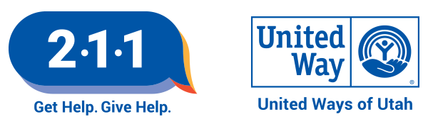 211: Get Help. Give Help. Logo and United Ways of Utah Logo